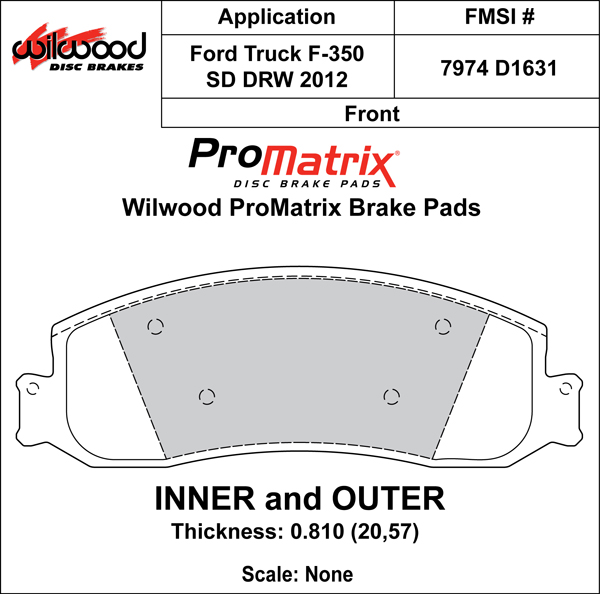Wilwood Brake Pad Plate #D1631 Large Drawing