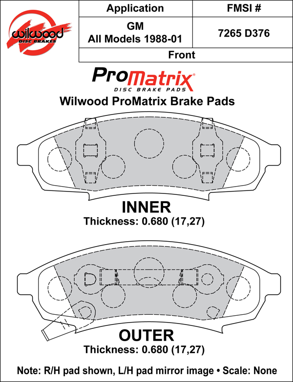 Wilwood Brake Pad Plate #D376 Large Drawing