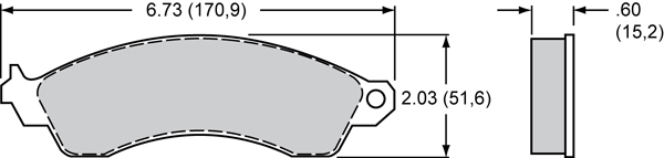 Wilwood Brake Pad Plate #D412 Large Drawing