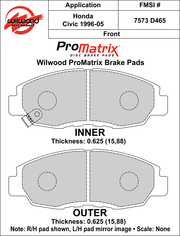 Wilwood Brake Pad Plate #D465 Large Drawing