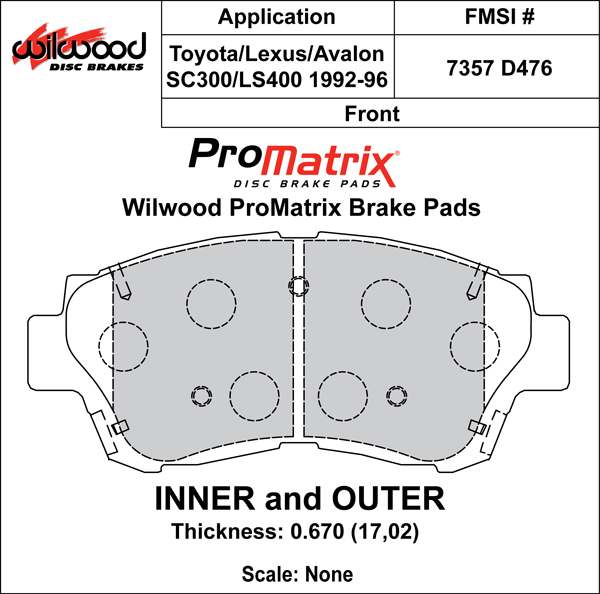 Wilwood Brake Pad Plate #D476 Large Drawing