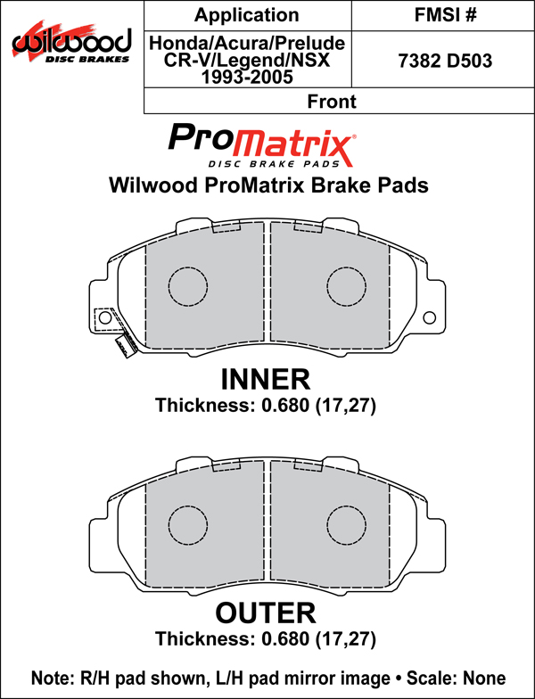 Wilwood Brake Pad Plate #D503 Large Drawing