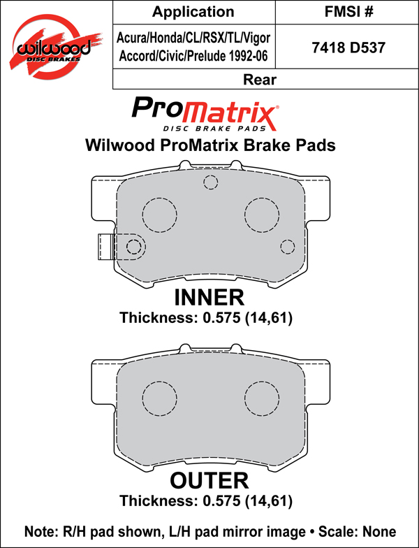 Wilwood Brake Pad Plate #D537 Large Drawing
