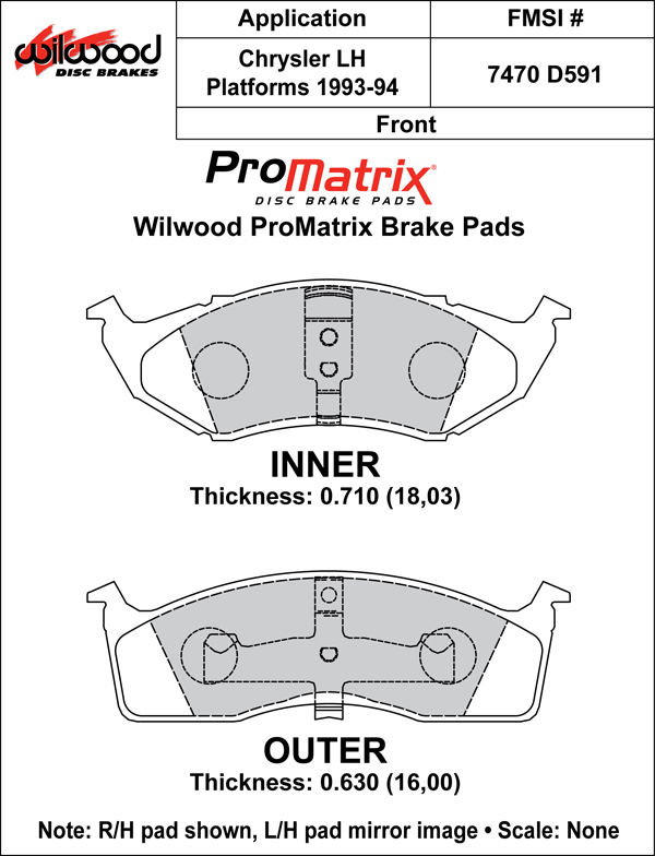 Wilwood Brake Pad Plate #D591 Large Drawing