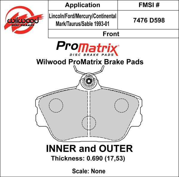 Wilwood Brake Pad Plate #D598 Large Drawing