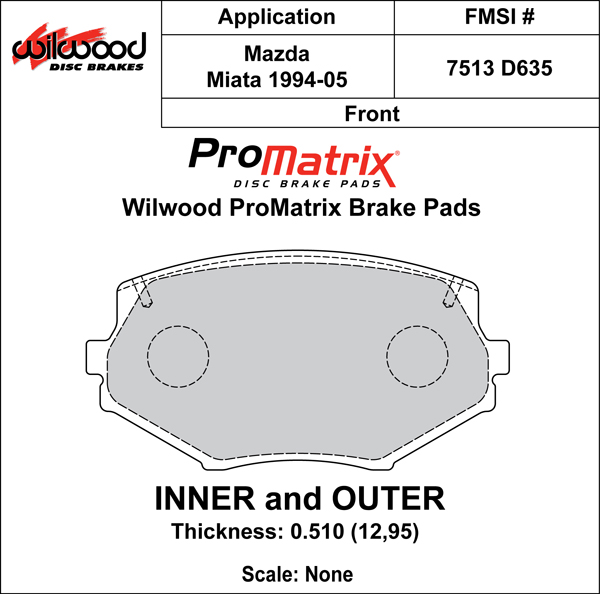 Wilwood Brake Pad Plate #D635 Large Drawing