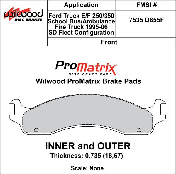 Wilwood Brake Pad Plate #D655F Large Drawing