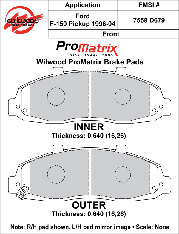 Wilwood Brake Pad Plate #D679 Large Drawing