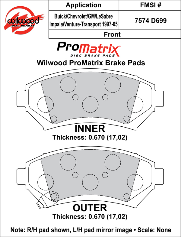 Wilwood Brake Pad Plate #D699 Large Drawing