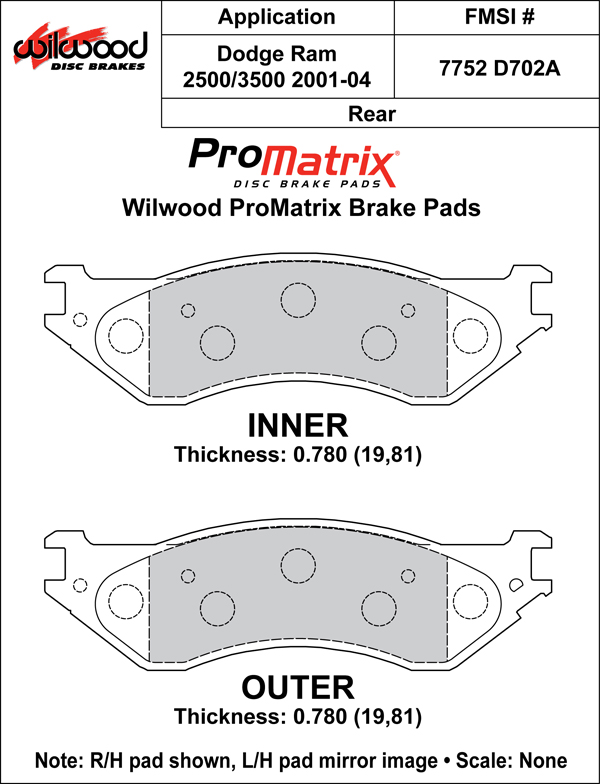 Wilwood Brake Pad Plate #D702A Large Drawing
