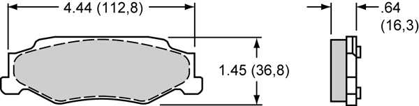 Wilwood Brake Pad Plate #D732 Large Drawing