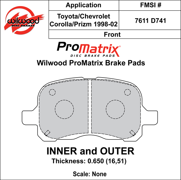 Wilwood Brake Pad Plate #D741 Large Drawing