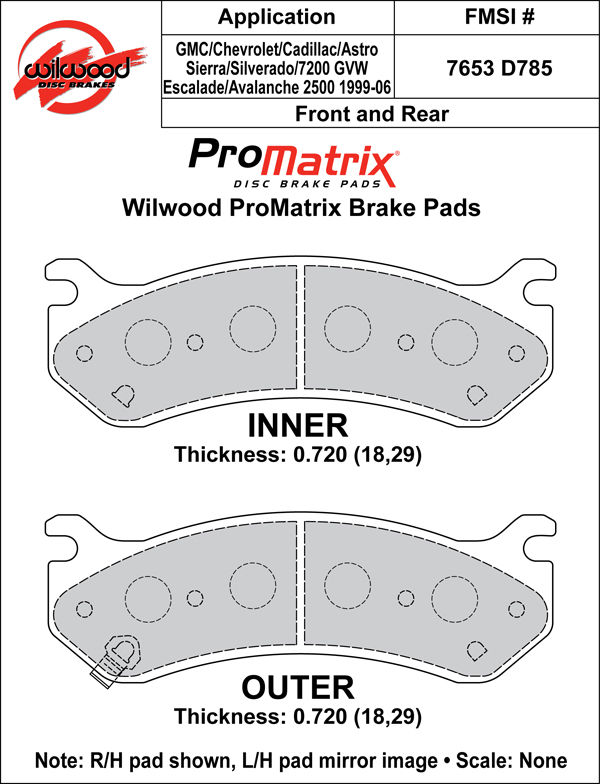 Wilwood Brake Pad Plate #D785 Large Drawing