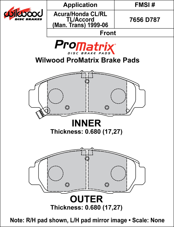 Wilwood Brake Pad Plate #D787 Large Drawing