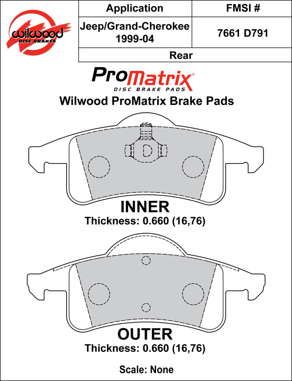 Wilwood Brake Pad Plate #D791 Large Drawing