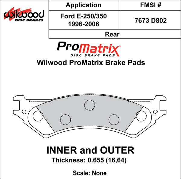 Wilwood Brake Pad Plate #D802 Large Drawing