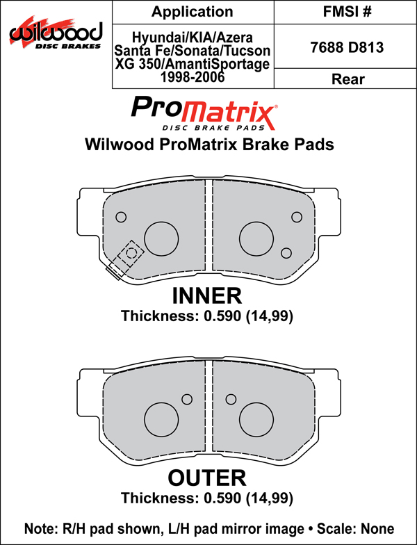 Wilwood Brake Pad Plate #D813 Large Drawing