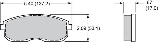 Wilwood Brake Pad Plate #D815 Large Drawing
