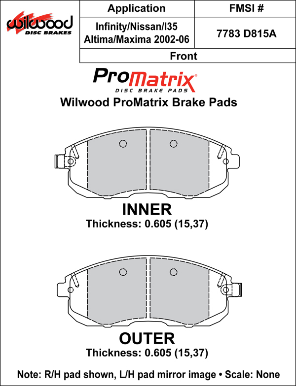 Wilwood Brake Pad Plate #D815A Large Drawing