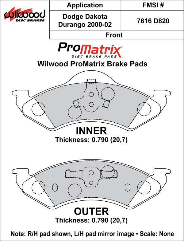 Wilwood Brake Pad Plate #D820 Large Drawing
