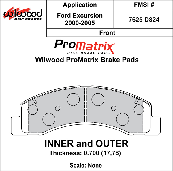Wilwood Brake Pad Plate #D824 Large Drawing