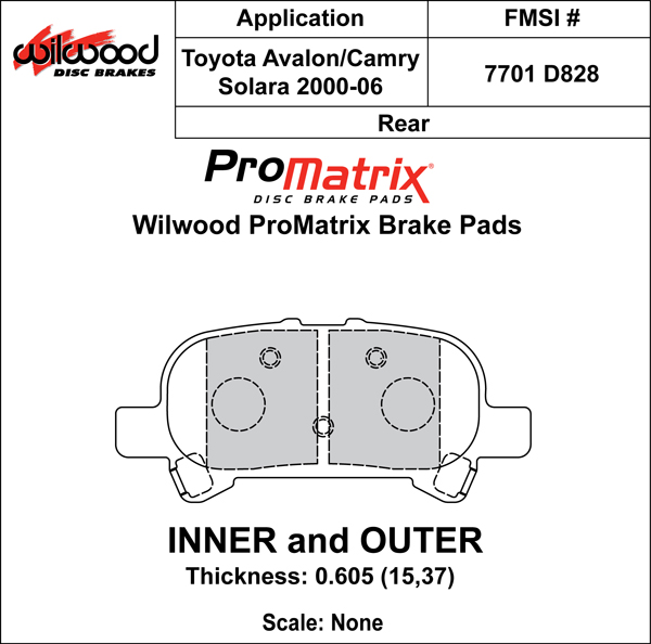 Wilwood Brake Pad Plate #D828 Large Drawing