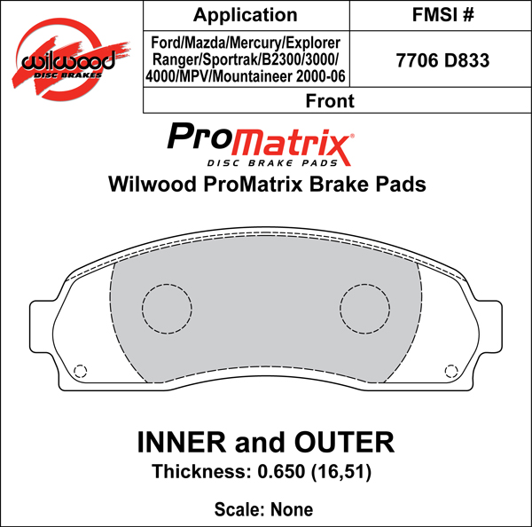 Wilwood Brake Pad Plate #D833 Large Drawing