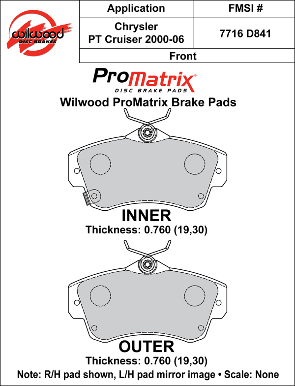 Wilwood Brake Pad Plate #D841 Large Drawing