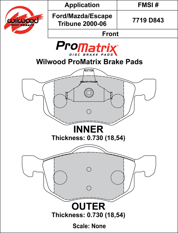 Wilwood Brake Pad Plate #D843 Large Drawing