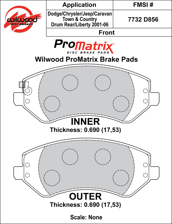 Wilwood Brake Pad Plate #D856 Large Drawing