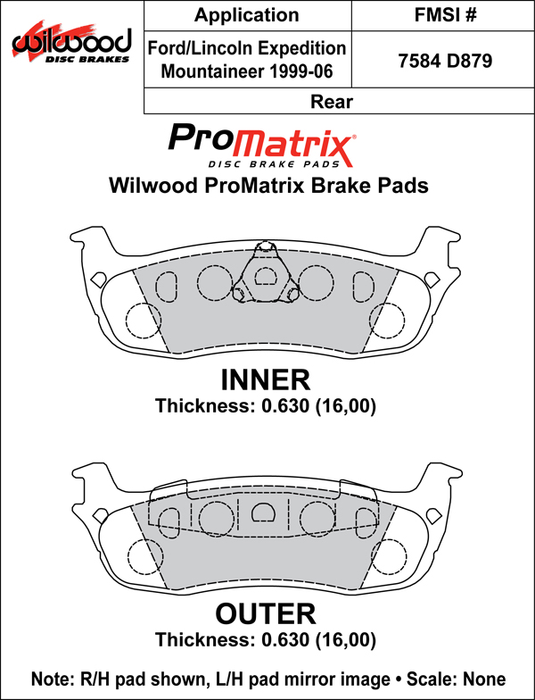 Wilwood Brake Pad Plate #D879 Large Drawing