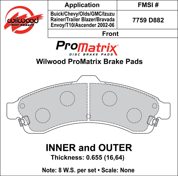 Wilwood Brake Pad Plate #D882 Large Drawing