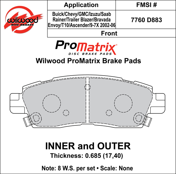 Wilwood Brake Pad Plate #D883 Large Drawing