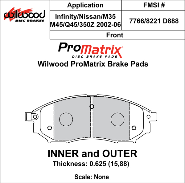 Wilwood Brake Pad Plate #D888 Large Drawing