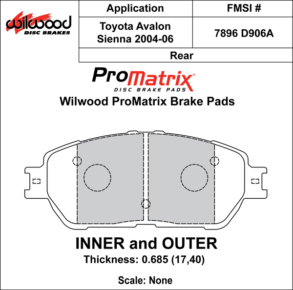 Wilwood Brake Pad Plate #D906A Large Drawing