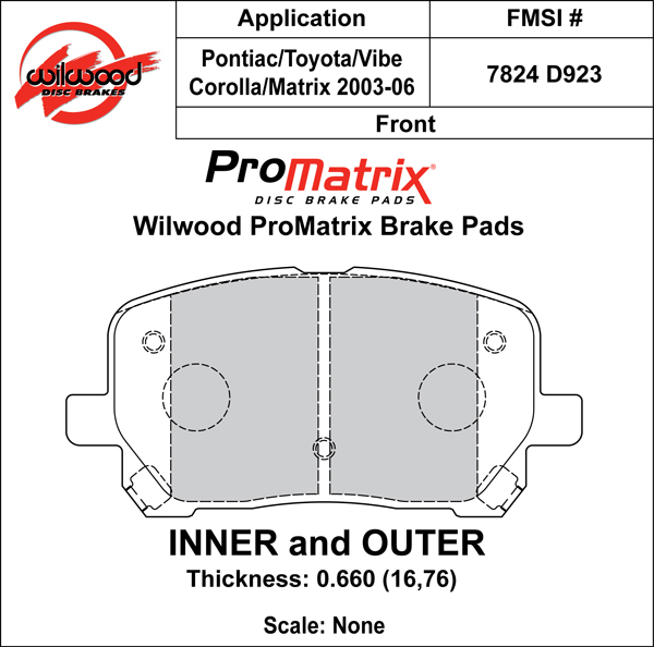 Wilwood Brake Pad Plate #D923 Large Drawing