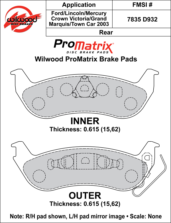 Wilwood Brake Pad Plate #D932 Large Drawing