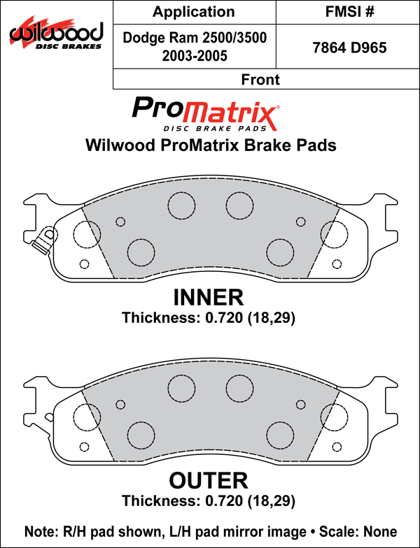 Wilwood Brake Pad Plate #D965 Large Drawing