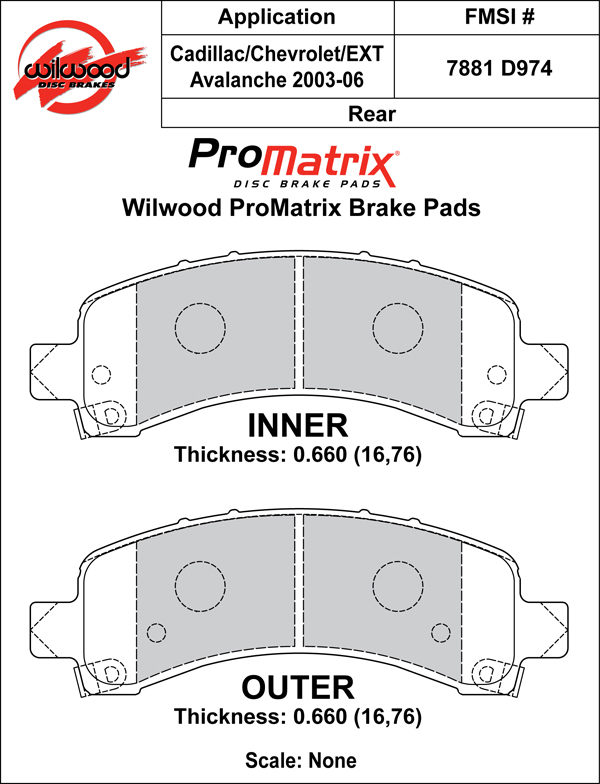 Wilwood Brake Pad Plate #D974 Large Drawing
