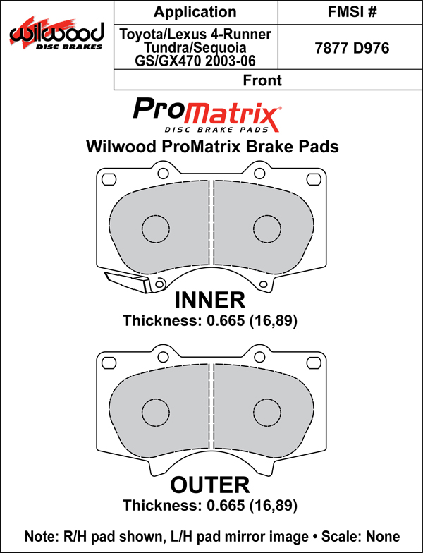Wilwood Brake Pad Plate #D976 Large Drawing