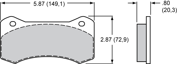 Wilwood Brake Pad Plate #6620 Large Drawing