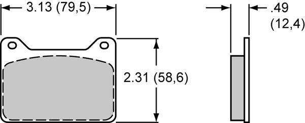 "Wilwood 15H-8811K .49/"" Thick PolyMatrix H Brake Pads"