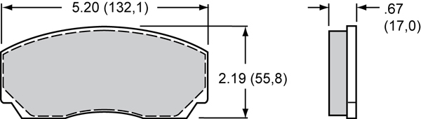 Wilwood Brake Pad Plate #8517 Large Drawing