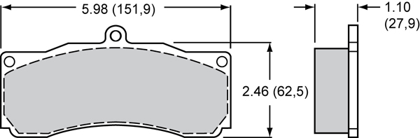 Wilwood Brake Pad Plate #8828 Large Drawing