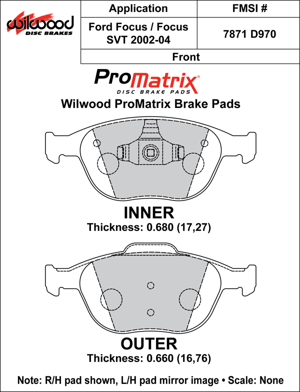 Wilwood Brake Pad Plate #D970