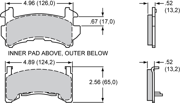 Wilwood Brake Pad Plate #D154 Large Drawing