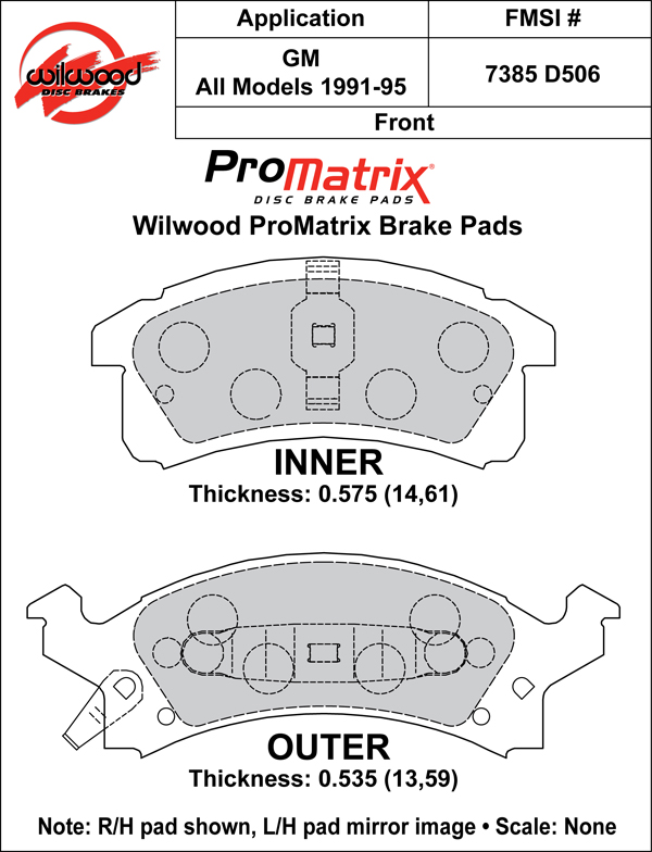 Wilwood Brake Pad Plate #D506