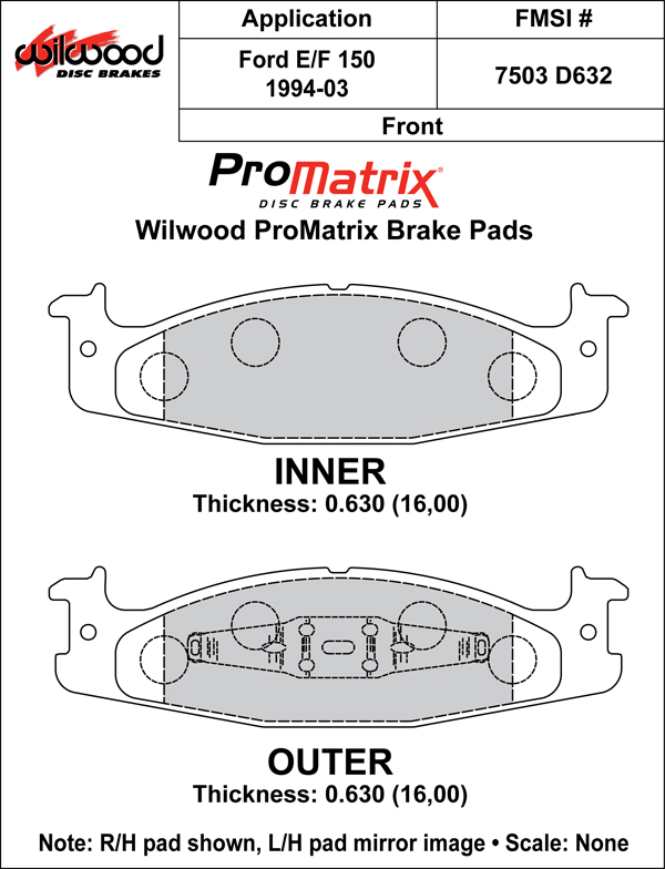 Wilwood Brake Pad Plate #D632 Large Drawing