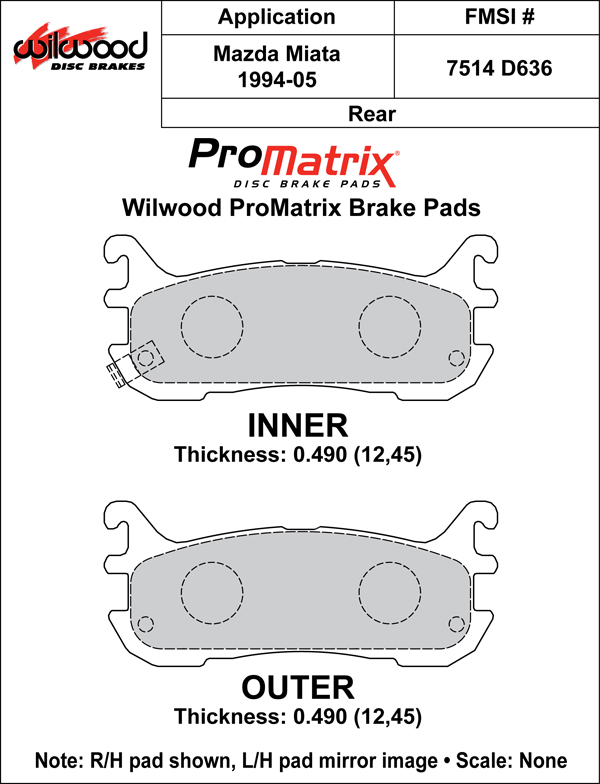 Wilwood Brake Pad Plate #D636 Large Drawing
