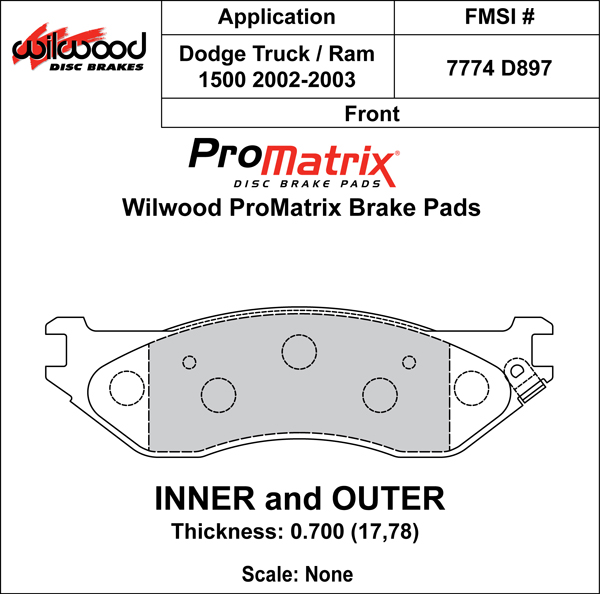 Wilwood Brake Pad Plate #D897 Large Drawing